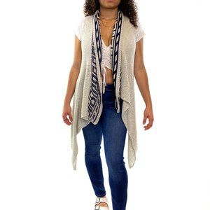 ABSOLUTELY Waterfall Geometric Trim Vest #A08